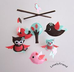 Flying in The Forest Mobile  Baby Mobile  by lovelyfriend on Etsy, $78.00