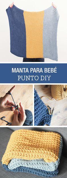 Tutorial DIY - CÓMO HACER UNA MANTA DE PUNTO TRICOLOR PARA BEBÉS en DaWanda.es