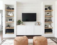 8 IKEA Besta Hacks to Inspire Your Next Storage Overhaul Living room shelves Built In Shelves Living Room, Living Room Tv, Home And Living, Ikea Living Room Storage, Built In Tv Wall Unit, Tv Wall With Shelves, Living Room Without Fireplace, Tv Shelving Unit, Modern Living