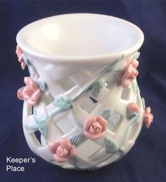 Shabby Cottage Chic Tart Candle Burner Warmer Open Weave Lattice Pink Roses MINT #UnknownUnmarked
