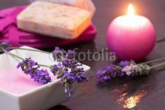 spa concept with lavender bath foam