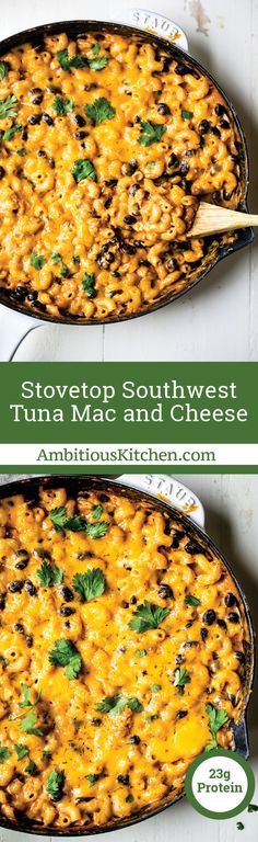 A spicy southwest inspired version of tuna mac and cheese with black beans and yellowfin tuna made in partnership with Genova Seafood! Great for weeknight dinners, game day or anytime you have a comfort food craving. #macandcheese #fallrecipes #comfortfood