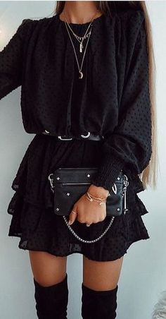 #winter #outfits black long-sleeved midi dress