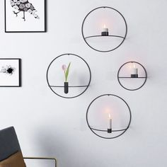 Nordic Style Candlestick Metal Wall Candle Holder Geometric Round Candlestick Wall Mounted Crafts Wedding Table Home Decor Wall Mounted Candle Holders, Cheap Candle Holders, Tealight Candle Holders, Round Candles, Tea Light Candles, Tea Lights, Led Candles, Chandelier Bougie, Filigranes Design