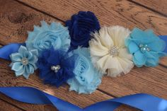 Marco azul azul marino y marfil flores correa por FlowersAndElastic