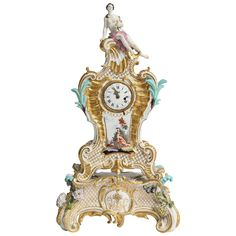 18th Century Rococo Meissen Porcelain Clock by Johann Frederick Ebelein  Offered By Alexander's Antiques  $32,850