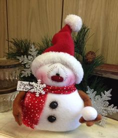Primitive HC Holiday Christmas Doll Snowman Snow Snowball Snowflake Super Cute! #IsntThatCute #Christmas