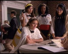 Blair Waldorf and her minions Penelope Shafai, Isabel Coates, and Nelly Yuki at their school Constance Billard......