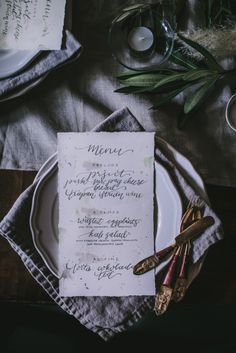 - AMY ROCHELLE PRESS - I was astounded by how gorgeously Eva Kosmas Flores' photo turned out of these hand lettered menus I created for her Croatia photography and styling workshop. Norwegian Wood, Good For Her, Custom Invitations, Paper Goods, Letterpress, Event Design, Croatia, A Table, Hand Lettering