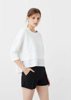 Textured cotton-blend sweatshirt - Sweatshirts for Woman | MANGO United Kingdom
