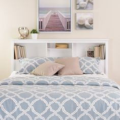 Bookcase Bedframe Queen Headboard, Headboards For Beds, Bed Without  Headboard, Headboard Shelves,
