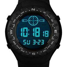 INFANTRY Men's Sport Digital Wrist Watch with Strong Rubber Strap-Black
