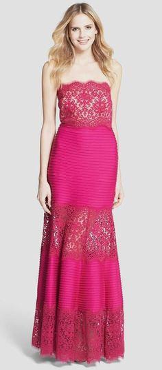 Tadashi Shoji Strapless Lace Inset Pintuck Jersey Gown