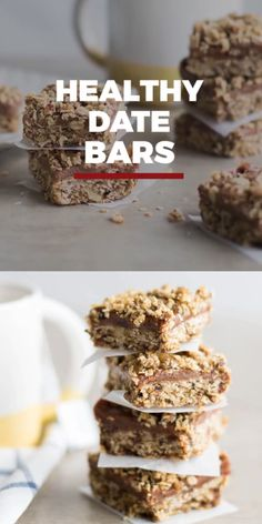 These Gluten Free Date Bars are seriously dreamy! They make the perfect energizing on-the-go snack, and are a healthy option because they are free of added sugars. Easy-to-make oatmeal date bars will be a new family favorite! Date Recipes Healthy, Healthy Bars, Healthy Treats, Healthy Desserts, Gourmet Recipes, Whole Food Recipes, Dessert Recipes, Date Recipes Breakfast, Healthy Options