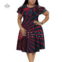 New Bazin Riche African Ruffles Collar Dresses for Women Dashiki Print Pearls Dresses Vestidos Women African Clothing African Dresses Plus Size, African Dresses For Kids, Latest African Fashion Dresses, African Print Dresses, Modern African Dresses, Ankara Fashion, Fashion Outfits, African Print Dress Designs, African Print Clothing