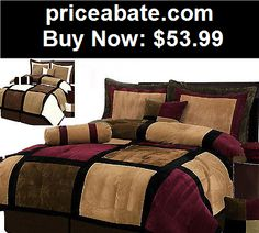 Bedding: Burgundy or White + Brown and Black Suede Patchwork Comforter Set/Bed-In-A-Bag - BUY IT NOW ONLY $53.99