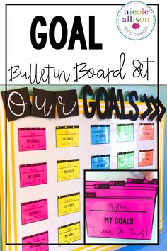 Make student goals visual with an easy bulletin board! Speech Language Pathology, Speech And Language, American Reading Company, Work Bulletin Boards, Student Goals, Student Data, Goal Board, Parent Teacher Conferences, Reading Specialist