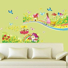 Bike Girl Cherub Bird Flower Rainbow Wall Sticker Decal Mural Kids Room Decor * To view further for this item, visit the image link.