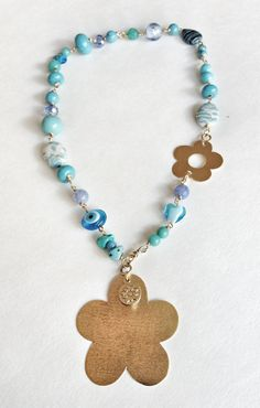 Turquoise Necklace, Gold Necklace, Flowers Necklace, Fashion Necklace, Pearl Necklace, Rosary Necklace, Bead Necklace, Texture Charms #hepteam #etsyretwt