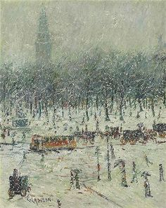 New York Snow Scene with Madison Square Garden in the Distance, Ernest Lawson. American (1873 - 1939)  Questroyal Fine Art, LLC