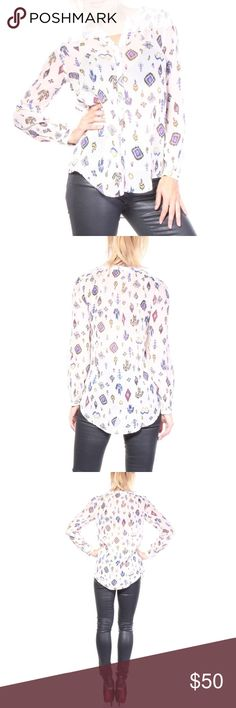 IKAT PRINT TOP - NWT - LUCKY BRAND Retail Price: $89.51 SHIPS TOMORROW ✈️ Specifics:  Color: Whites Color: Beiges Sleeve Length: Long Sleeve Style: Blouse Material: 100% Rayon Product Subtype Clothing: Shirt Seasons of the product: Spring-Summer Outer Material Type: Rayon Base Name: Ikat Print Lucky Brand Tops