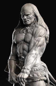 ArtStation - - Frazetta's Barbarian - Conan, Caleb Nefzen