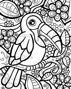 Charismatic On the spot coloring web page - Toucan Artwork Print impressed by zentangle, doodle artwork, printable Cute Coloring Pages, Flower Coloring Pages, Coloring Pages To Print, Coloring Sheets, Coloring Books, Free Adult Coloring, Zentangle, Artwork Prints, Doodle Art