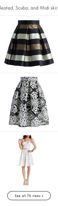 """""""Pleated, Scuba, and Midi skirts"""" by mdetoma ❤ liked on Polyvore featuring skirts, black, bottoms, faldas, saias, knee length pleated skirt, stripe skirt, pleated skirt, striped skirt and striped pleated skirt"""