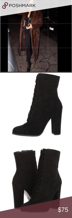 """New Black suede lace up booties First pic """"create the look"""" like Kim K with these sexy suede lace up booties. Details in pics. Size is 11 but fits a 10 had to buy bigger. Never worn still in box. Zipper and lace up closure. Can wear with jeans, dresses, skirts and much more! Don't miss out. Price firm Carlos Santana Shoes Lace Up Boots"""