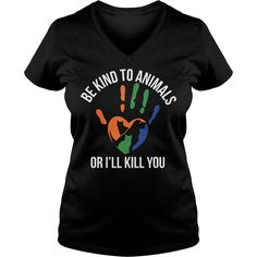 Be kind to animals or i'll kill you lady v-neck