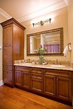 Double Vanity with Linen Cabinet | Double Sink Vanity With Linen Cabinet Design Ideas, ... | Bathrooms