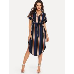 To find out about the Block-Stripe Curved Hem Shirt Dress at SHEIN, part of our latest Dresses ready to shop online today! Summer Dress Outfits, Casual Dresses, Fashion Dresses, 70s Fashion, Korean Fashion, Fashion Online, Plus Size Wedding Dresses With Sleeves, Look Star, Short Women Fashion