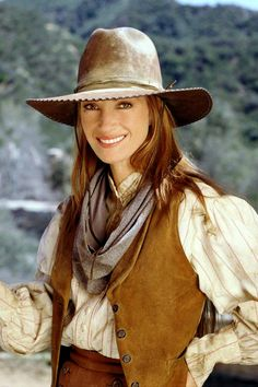 Jane Seymour as Dr. Quinn, Medicine Woman in the tv series.  She plays an independent pioneer woman who is also one of the first female doctors.