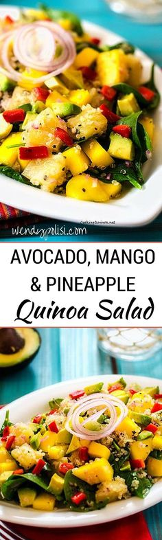 Avocado, Mango and Pineapple Quinoa Salad - This healthy vegan quinoa salad is easy to make and packed with flavor. Avocado, mango, pineapple and roasted red pepper combine to make an energizing and delicious salad.