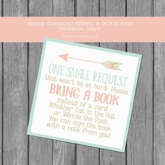 Adventure themed bring a book card insert, baby shower invitation insert, book instead of a card, pink, mint, gold, arrows, fox, tribal