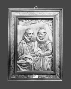 Silver plaque with a portrait of a princely couple (possibly Christian I of Saxony and Sophie of Brandenburg) by Anonymous from Germany, turn of the 16th and 17th century, Private collection of Nikolai Nikolaevich, Baron von Medem, governor of Warsaw (current whereabouts unknown)