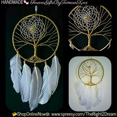 """Ready4Shipment!  Size: 5""""x 11""""  Details: wall decor, 5"""" gold tone wire wrapped tree of life, 3"""" gold tone dream catcher, gold tone fixings, feathers  Materials: metal, cotton, alloy, plastic 