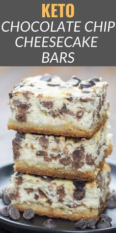 These Keto Chocolate Chip Cheesecake Bars are creamy, dreamy and low carb! At just one net carb per bar, these sweet treats won't break your keto diet. Healthy Low Carb Recipes, Low Carb Dinner Recipes, Low Carb Keto, Keto Recipes, Dessert Recipes, Keto Dinner, Lunch Recipes, Fish Recipes, Healthy Foods