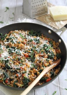 Beef-orzo one-pan dinner (made 3-9 - tasty but needed more water/broth and should have added kale earlier)