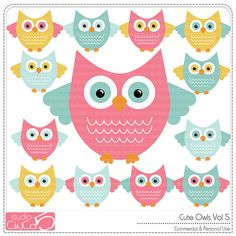 Cute Owls vol 5 - Digital Clip Art , Commercial Use Clipart, Scrapbook…