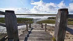 'Saltmarsh Steps' - part of the Sustrans cycle route between Burry Port and Pembrey Cycle Route, Cornish Coast, Cultural Diversity, Railroad Tracks, Landscape Paintings, Wales, Golf Courses, Beaches, Beach House