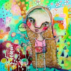 Awaken Original Whimsical Folk Art Mixed Media by GypseeArt
