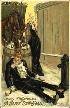 Who hasn't passed out drunk and woken up to a horse eating their hair? | 17 Strange And Creepy Vintage New Years Cards