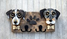 Custom Dog leash holder with 2 dogs.  Dogs by KingsBenchCreations