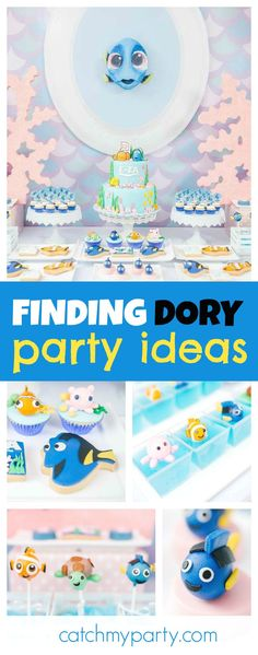 Dive into this awesome Finding Dory pool party! The cake pops are adorable!! See more party ideas and share yours at CatchMyParty.com