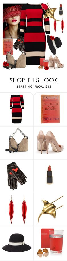 """""""Colorblock Dress"""" by petalp ❤ liked on Polyvore featuring Phase Eight, Jimmy Choo, Rupert Sanderson, Boutique Moschino, Georgia Perry, Mark Davis, rag & bone, red flower, dress and ootd"""