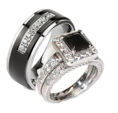 They're so beautiful, I would love this ring set.                                          Edwin Earls His & Her 3 Piece Black & White Cz Wedding Ring Set Sterling Silver and Stainless Steel (Womens 5-...