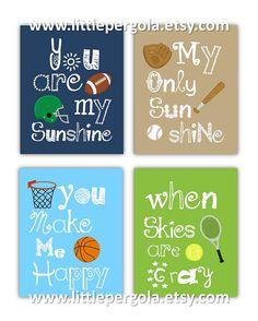 SALE Sport Art for Kids You are my sunshine Art by Little Pergola Art on Etsy