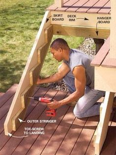 Attaching Deck Stringers To Rim Joist - Carpentry - DIY Chatroom - DIY Home . - diy home improvement Attaching Deck Stringers To Rim Joist – Carpentry – DIY Chatroom – DIY Home Deck Steps, How To Build Porch Steps, Outdoor Steps, Outdoor Projects, Wood Projects, Building Stairs, Deck Builders, Deck Railings, Garden Railings