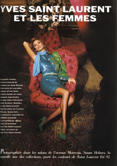 1992 - Susan Holmes in Yves Saint Laurent by Jonathan Lennar for l'Officiel